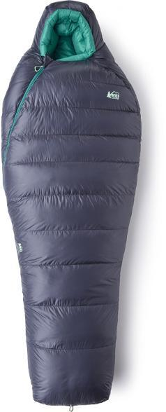 Turquoise and Charcoal colored REI Co-op Magma Sleeping Bag. Magma 17 (for Women)