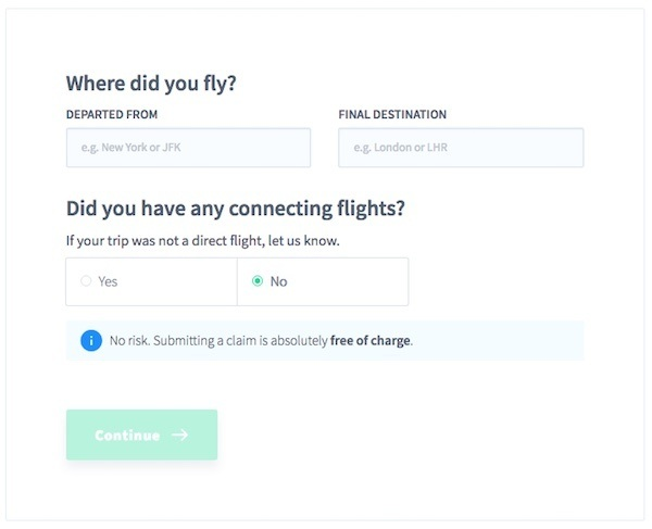 Screen shot of details for where did you fly, showing a direct flight