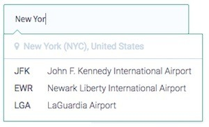 screenshot of the airport dropdown