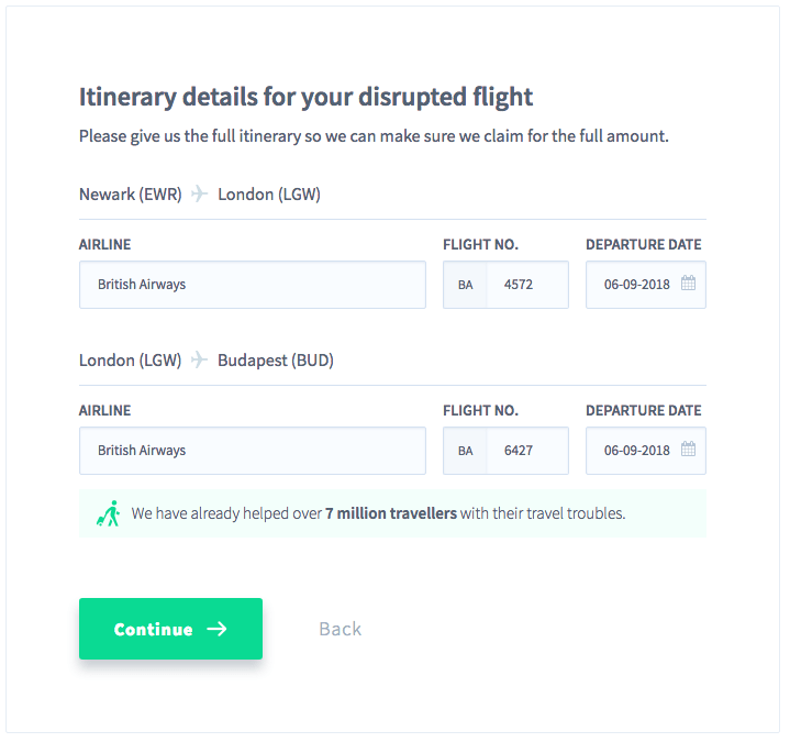 Fill in the details of your flight itinerary