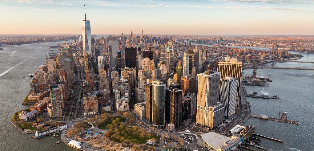 Vue du ciel en direction des aéroports de New York