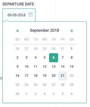 calendar to select your flight departure date