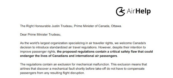 Image of the open letter to Canadian Prime Minister the Honourable Justin Trudeau