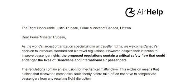 Image de la lettre ouverte adressée au Premier Ministre Canadien l'honorable Justin Trudeau