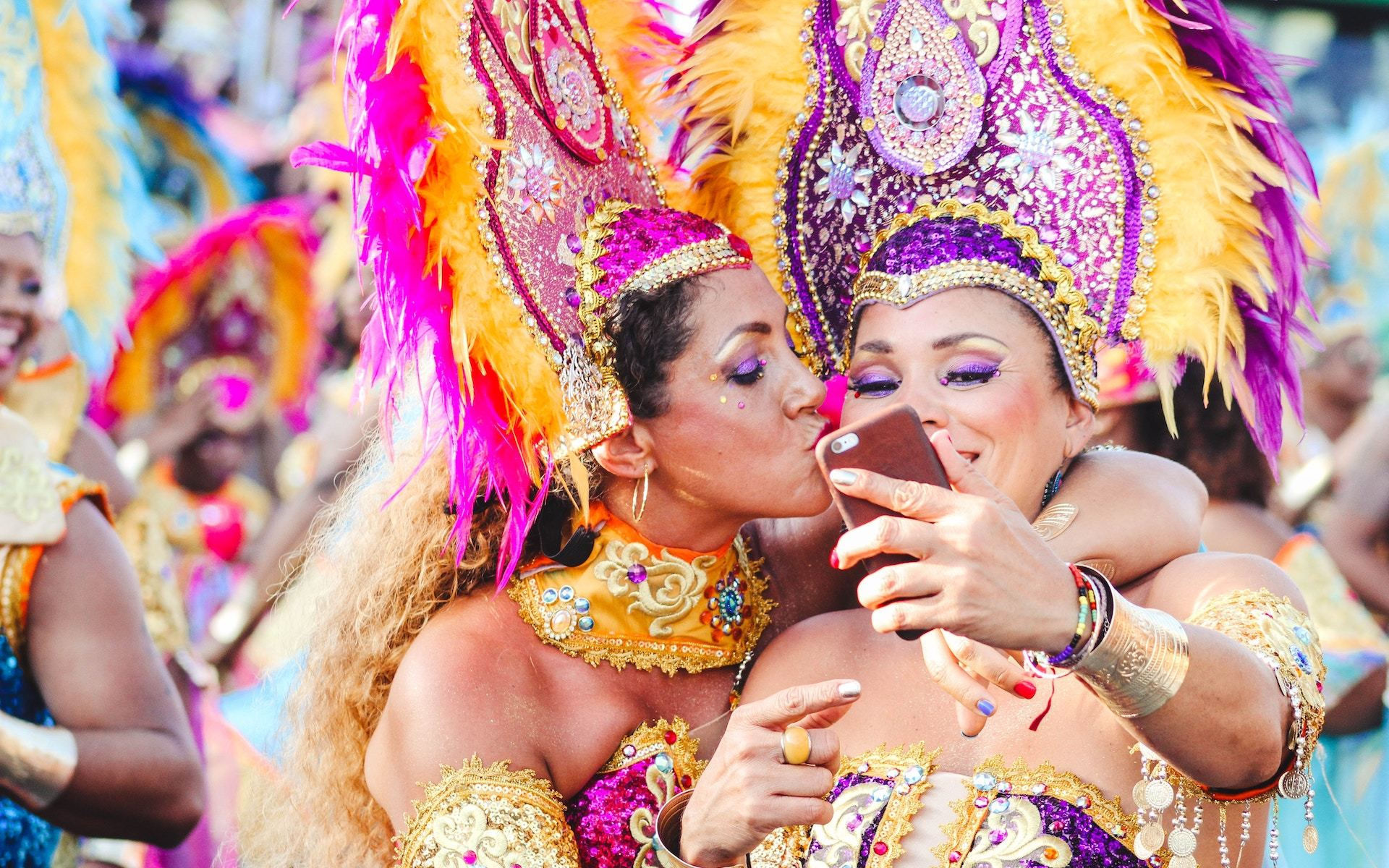 two women in carnival costumes