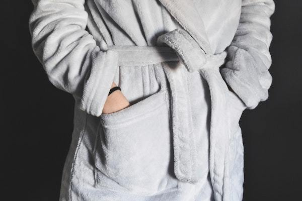 gray bathrobe