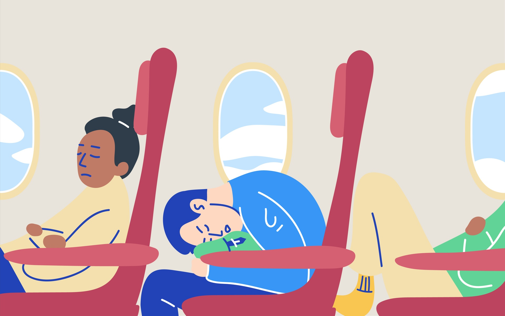 best ways to sleep on a plane illustration