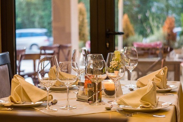 Wine glasses at restaurant