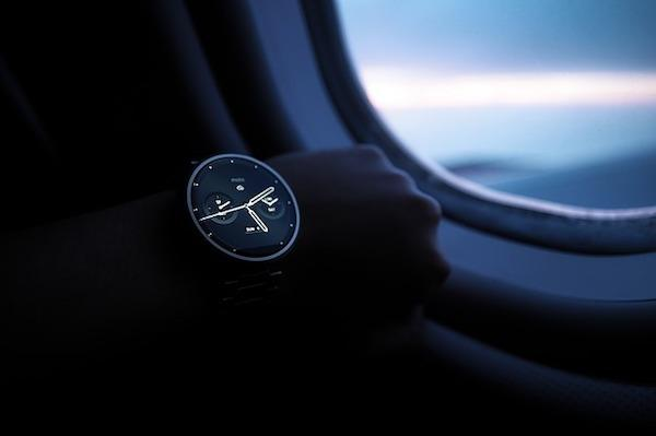 wristwatch on a plane