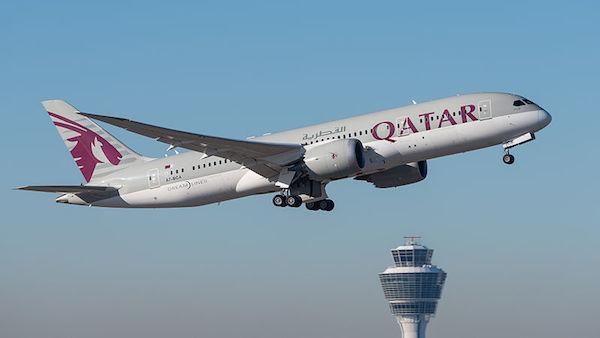 Qatar Airways airplane taking off