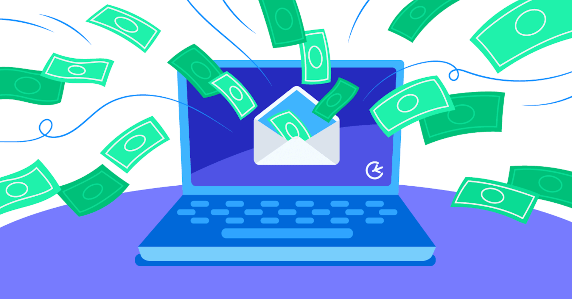 money coming out of computer illustration